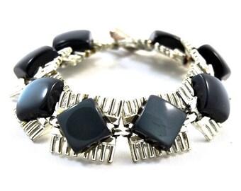 Chunky 1960s Charcoal Thermoset Vintage Bracelet