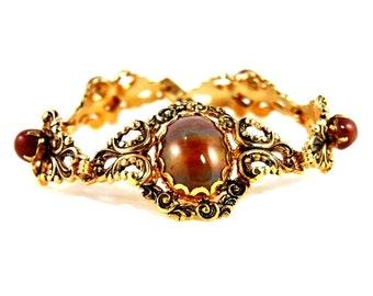 Victorian Revival Filigree Agate Vintage Link Bracelet