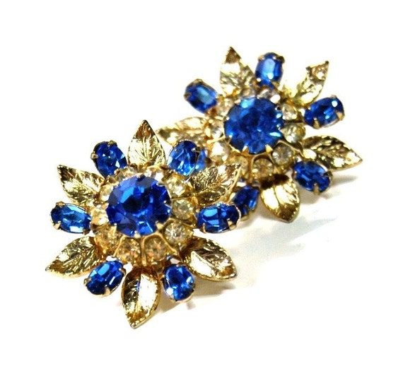 Coro Screw Back Earrings Blue Rhinestone Flower Vintage Earrings