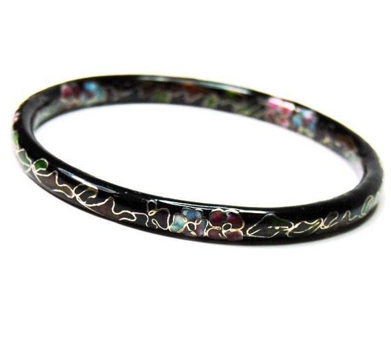 Black Floral Vintage Cloisonne Bangle Bracelet