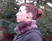 Cowl Scarf: Crochet Super Soft Grey, Black & Brown Multi-colored