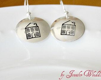 Sterling Silver House Earrings, House Earrings,Handstamped House Earrings, Realtor Jewelry, Occupation Jewelry