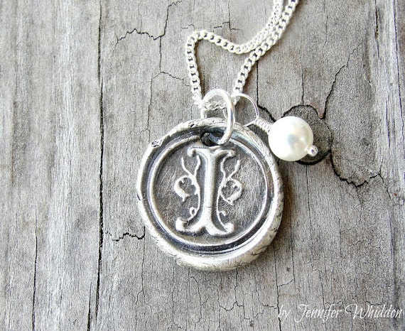 Wax Seal Initial Pendant- Initial Pendant- Monogram Necklace - Wax Seal Necklace - Fine Silver Necklace
