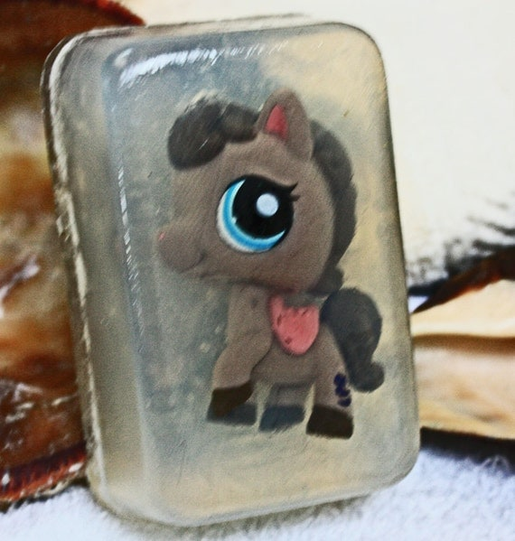 Brown Pony from the Littlest Pet Shop Collection of Toys in a bar of Soap