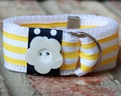 Daisy Days Ribbon Belt in Yellow, White and Navy Size Newborn, 3, 6, 9, 12, 18, 24 months, 2T, 3T, 4T 5, 6, 7, 8