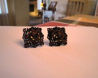 Amber Colored Rhinestone Pierced Earrings