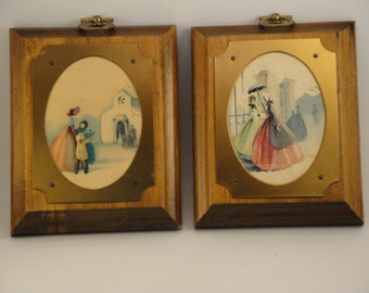 Pair of Vintage Paper Pictures