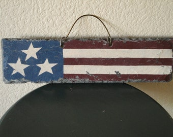 Patriotic Flag Wall Hanging-Slate