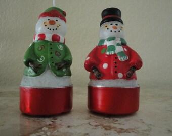 Pair of Snowmen Candles
