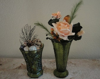 Two Green Vases with Flowers and Shells Included