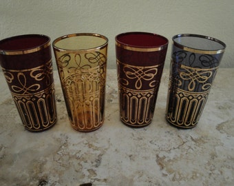 Set of Four Gold Trimmed Glasses