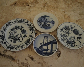 Group of Four White and Blue Dishes