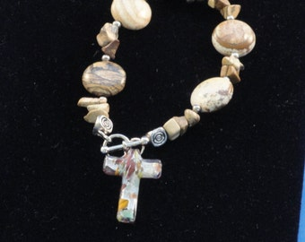 Agate Bracelet with Murano Glass Cross