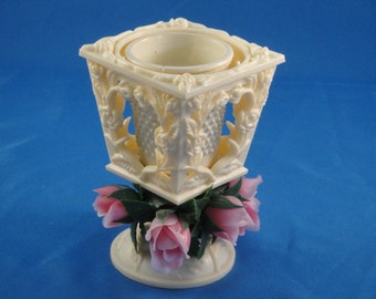 Plastic Votive Candle Holder with Roses