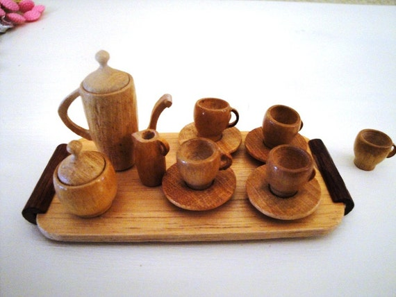 Miniature wooden tea set for Cuisine wooden