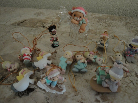 14 Piece Group of Miniature Precious Moments Ornaments