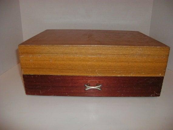 ON SALE Vintage Silverware Jewelry Box Green Velvet Flatware