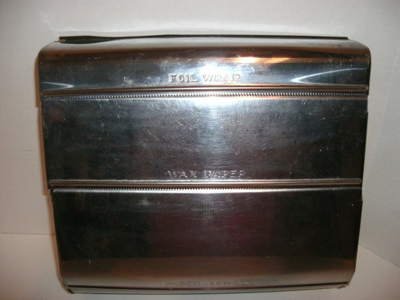 Vintage Chrome Plated Tin Kitchen Caddy Foil Wrap/ Wax Paper/ Paper Towels Made By Garner Ware