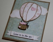 Wedding card / Engagement card - Hot Air Balloon, customized, Love is in the air