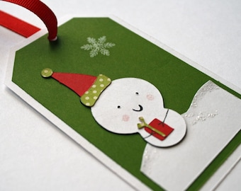 Snowman Gift tags / Christmas tags - holiday snowman, set of 6