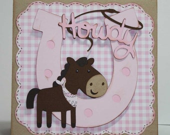 Cowgirl birthday invitations - horse and western theme, custom design, set of 12