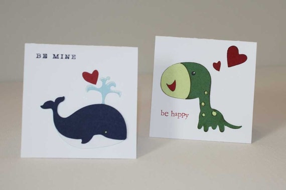 Classroom Valentine cards  - Set of 24 cards, cute animals, fun for kids