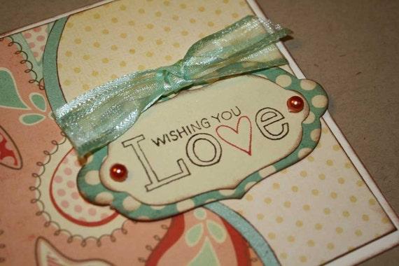 Wedding Greeting card - whimsical paisleys, pink and seafoam
