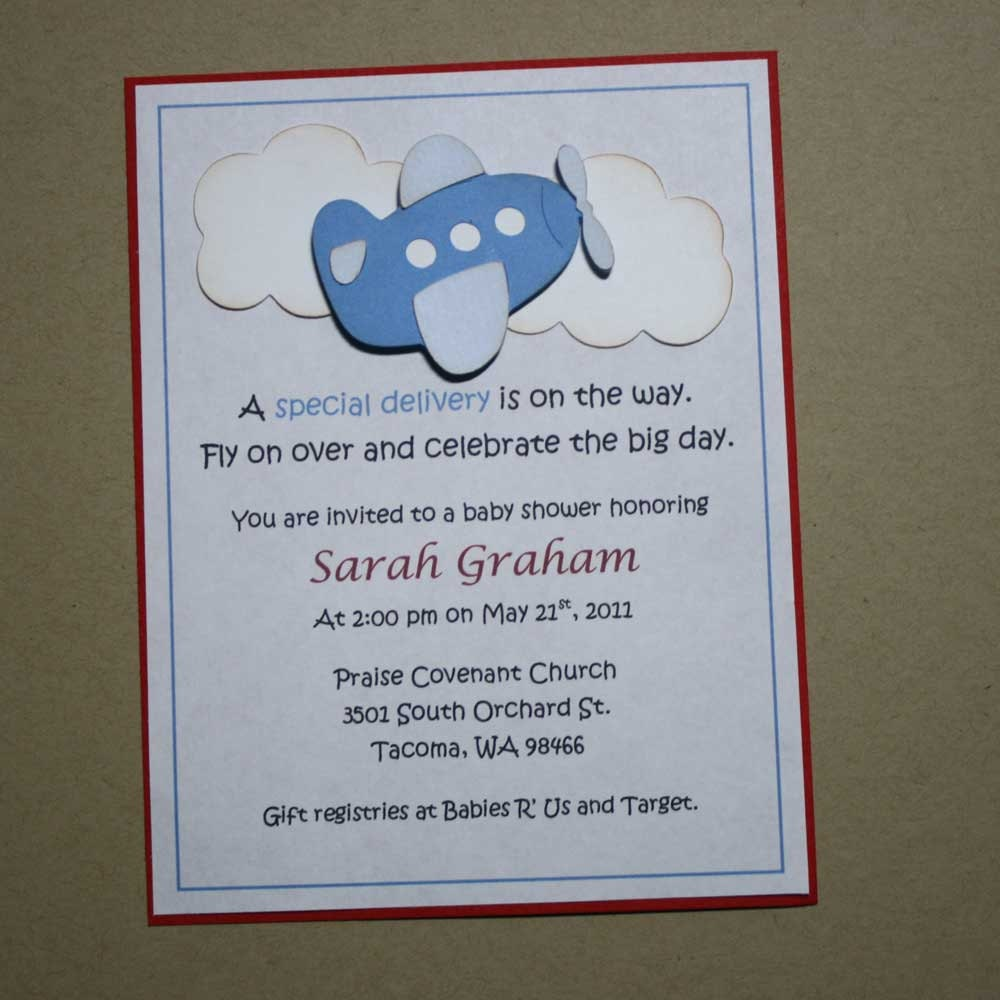 airplane shower invitations baby boy shower blue and red