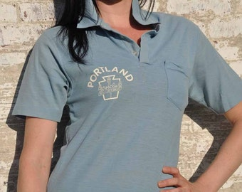 "Vintage 1970s Champion ""Portland Boy's Club"" Three Button Collared Shirt with Pocket"