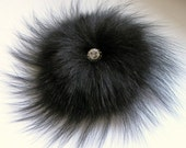 Brooch Couture Original Design Black Fox Fur Corsage Fur Brooch Luxury Swarovski Cabochon Center piece 12 stunning crystals