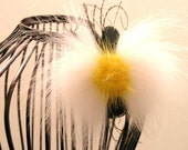 Wedding Sunny Spring Yellow Brooch Couture White Daisy center White Fox Fur feathers Bow Tie shape corsage pin  Hair Clip Bridal Accessory