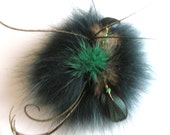 Irish Emerald Isle Pine Forest Green Fox Fur Brooch Kelly Green  Mink Fur Pin Brooch corsage coat hat shawl Kilt  pin