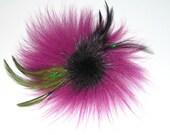 Fuchsia Magenta Fascinator Fur Hair Clip Fur Brooch Fur Pin Deep Eggplant  Purple Mink Feather Plumage Green Corsage