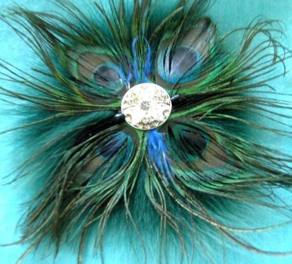 Feather  Fox Fur Brooch Feather Fur Pin Peacock Blue Green Silver Crystal Cabochon Corsage Fibulae