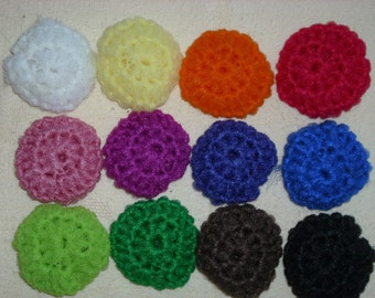 Nylon net pot SCRUBBIES, set of 6, Doubled, many colors Approx 3""