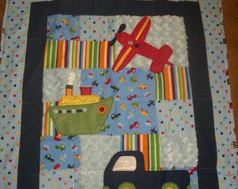 Baby BlanKet, Blues/train,boat,car, flannel, chenille, TOO CUTE