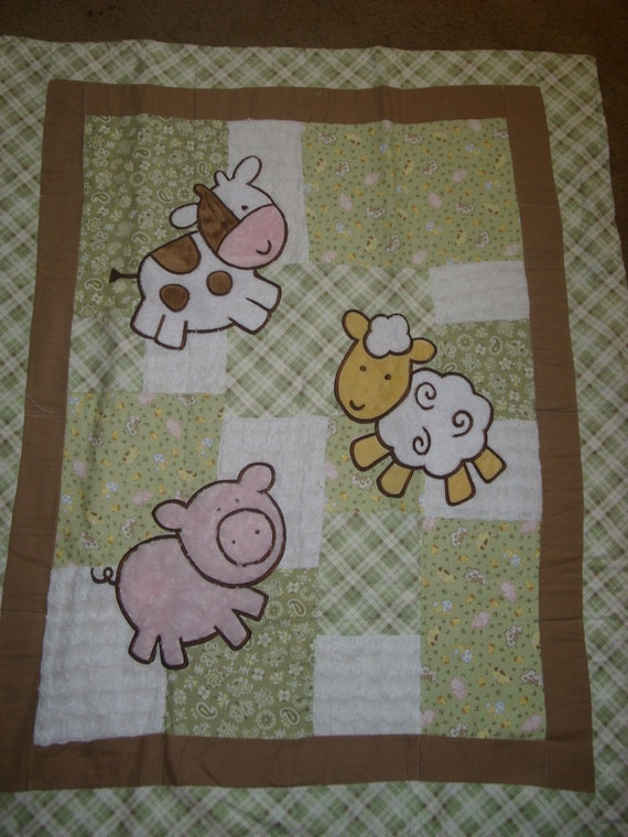 Baby Blanket Appliqued Farm Animals Pig Cow Lamb Soft