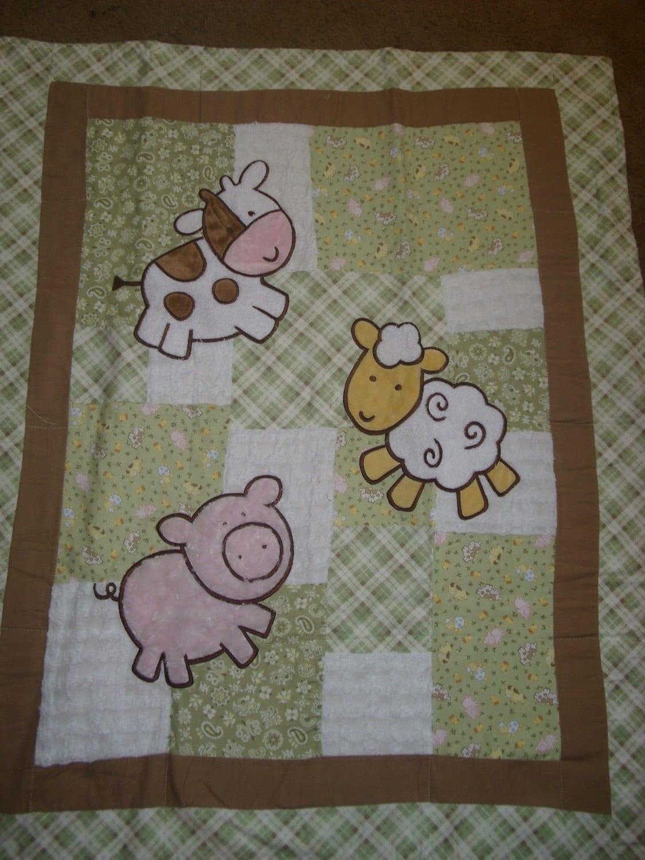 Baby Blanket Appliqued Farm Animals Pig Cow Lamb Soft