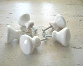 5 White Vintage Porcelain knobs