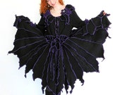 RESERVED for Catherine Elizabeth - miDNiGhT - Short Faerie tattered pixy petal coat - Made with recycled sweaters