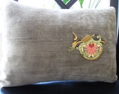 Green Velvet and Floral Decorative Pillow by The Blessed Sparrow