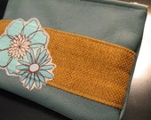 Teal Colored Leather Coin Purse with Flower Applique by The Blessed Sparrow Inspirational Gifts