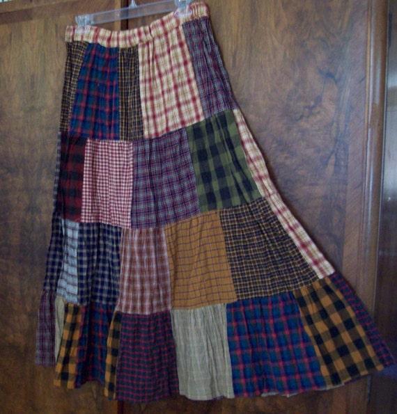 Tiered Patchwork Long Skirt made from  Homespun plaids- larger size