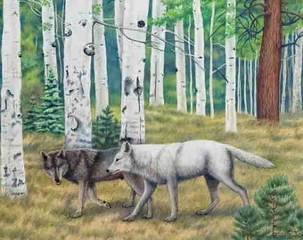 Cards, Wolves with Aspen Trees, 1 fine art greeting card, 5X7 blank inside