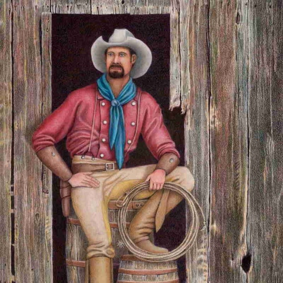 Drawing of a Cowboy from the Old West in a rustic barn doorway. Free US shipping. Print