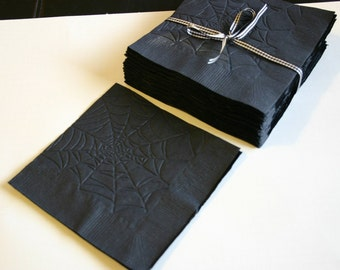 25 individually embossed spider web napkins Black