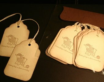NEW 10 Hand stamped Knitting Lamb Gift Tag, Wool, Yarn, Acid Free