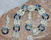 Chainmaille Byzantine and Swarovski Cosmic Ring Bracelet with matching Earrings in Sterling Silver