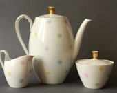 Mid Century Modern 1950s Pastel Polkadots Coffee Pot Creamer and Sugar bowl by Seltmann Bavaria