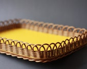 Vintage Yellow Rattan Tray
